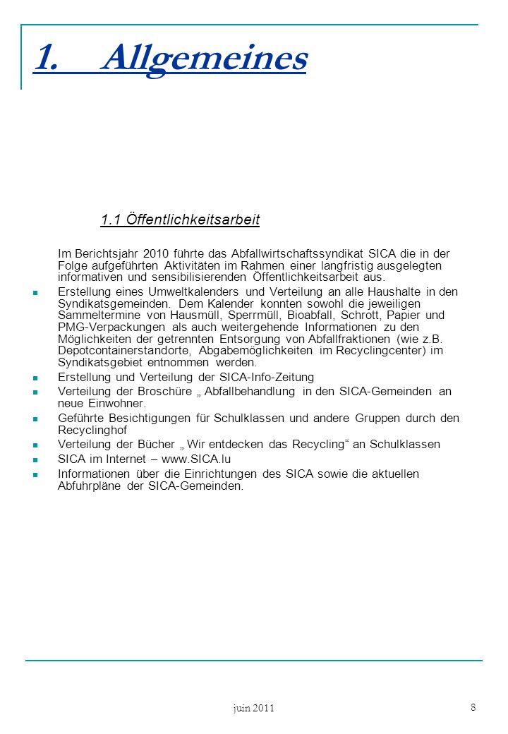 juin 2011 8 1.Allgemeines 1.1 Öffentlichkeitsarbeit Im Berichtsjahr 2010 führte das Abfallwirtschaftssyndikat SICA die in der Folge aufgeführten Aktivitäten im Rahmen einer langfristig ausgelegten informativen und sensibilisierenden Öffentlichkeitsarbeit aus.