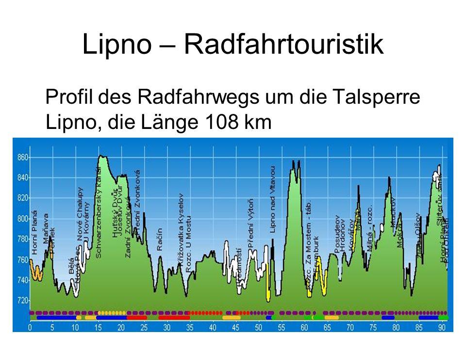 Lipno – Radfahrtouristik Profil des Radfahrwegs um die Talsperre Lipno, die Länge 108 km
