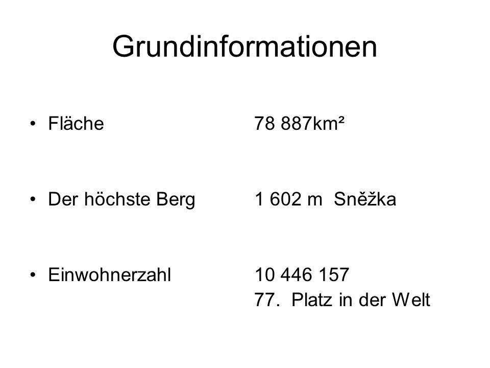 Grundinformationen Fläche Der höchste Berg Einwohnerzahl 78 887km² 1 602 m Sněžka 10 446 157 77. Platz in der Welt