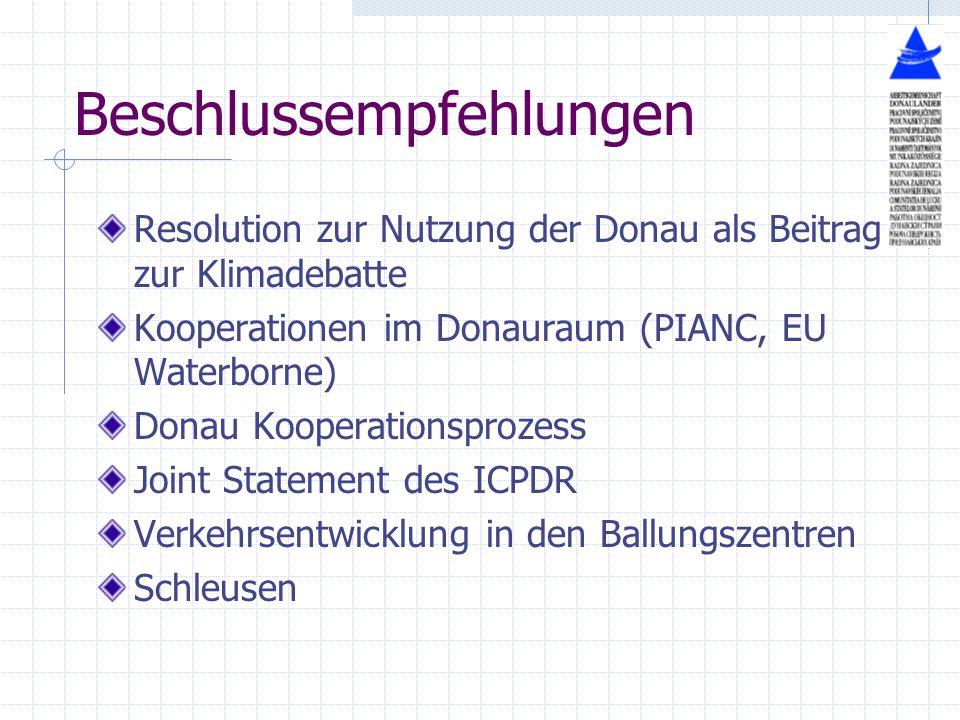 Beschlussempfehlungen Resolution zur Nutzung der Donau als Beitrag zur Klimadebatte Kooperationen im Donauraum (PIANC, EU Waterborne) Donau Kooperatio