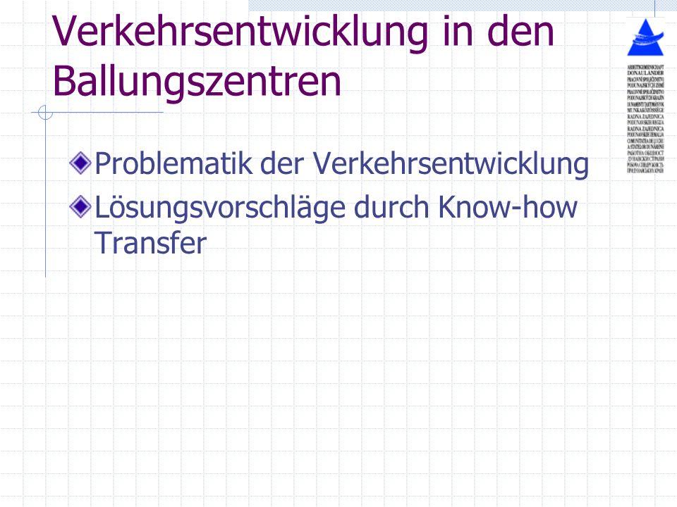 Verkehrsentwicklung in den Ballungszentren Problematik der Verkehrsentwicklung Lösungsvorschläge durch Know-how Transfer