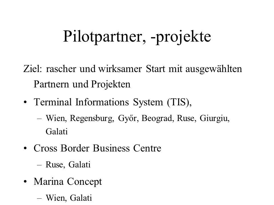 Pilotpartner, -projekte Ziel: rascher und wirksamer Start mit ausgewählten Partnern und Projekten Terminal Informations System (TIS), –Wien, Regensbur