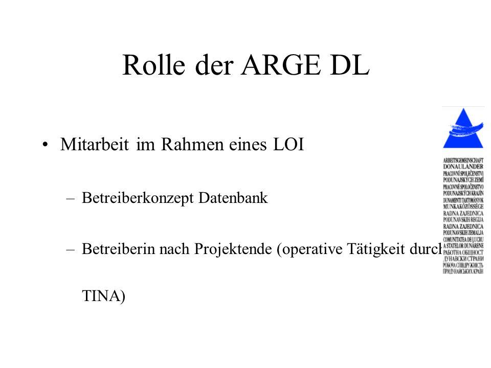 Rolle der ARGE DL Mitarbeit im Rahmen eines LOI –Betreiberkonzept Datenbank –Betreiberin nach Projektende (operative Tätigkeit durch TINA)