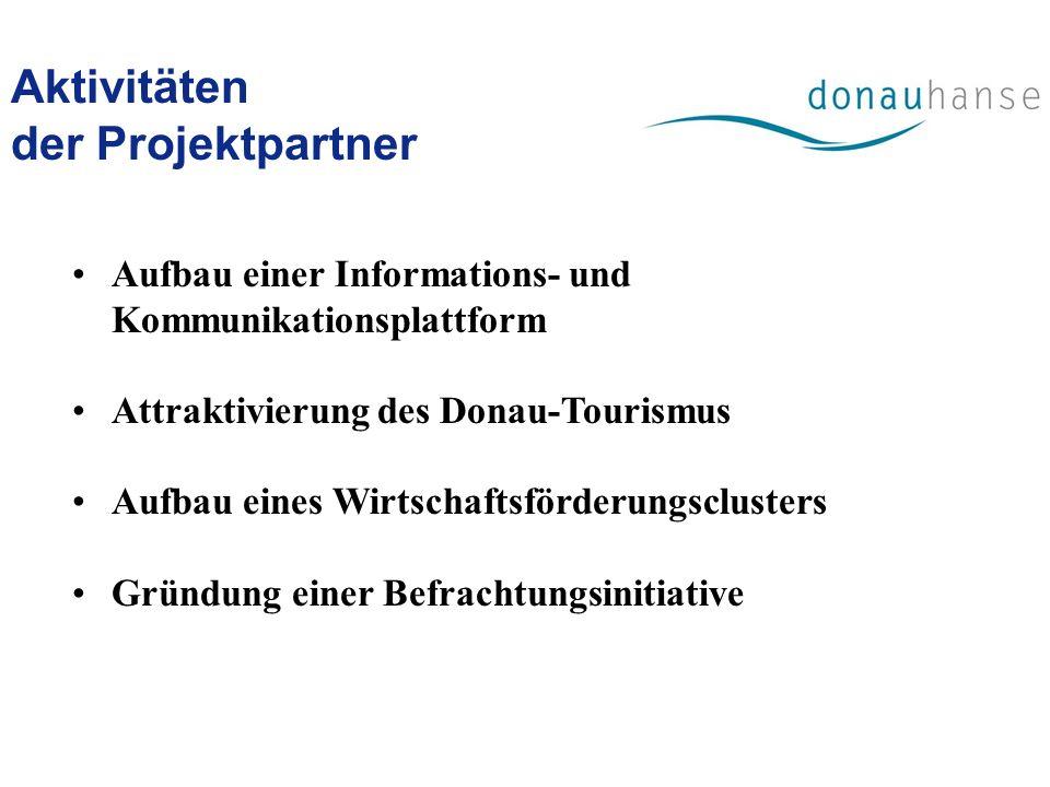 Aktivitäten der Projektpartner Aufbau einer Informations- und Kommunikationsplattform Attraktivierung des Donau-Tourismus Aufbau eines Wirtschaftsförd