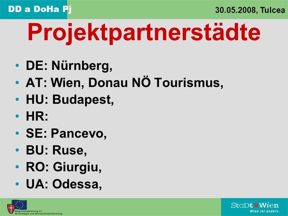 DD a DoHa Pj 30.05.2008, Tulcea Projektpartnerstädte DE: Nürnberg, AT: Wien, Donau NÖ Tourismus, HU: Budapest, HR: SE: Pancevo, BU: Ruse, RO: Giurgiu, UA: Odessa,