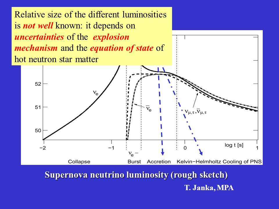 Supernova neutrino luminosity (rough sketch) Relative size of the different luminosities is not well known: it depends on uncertainties of the explosion mechanism and the equation of state of hot neutron star matter T.
