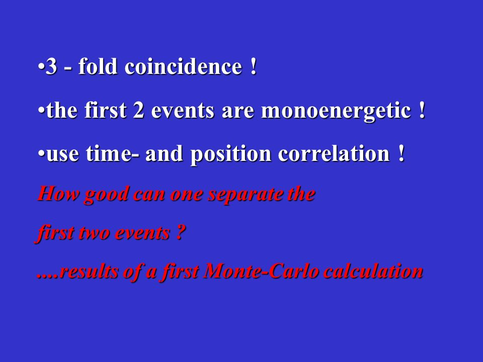 3 - fold coincidence !3 - fold coincidence ! the first 2 events are monoenergetic !the first 2 events are monoenergetic ! use time- and position corre