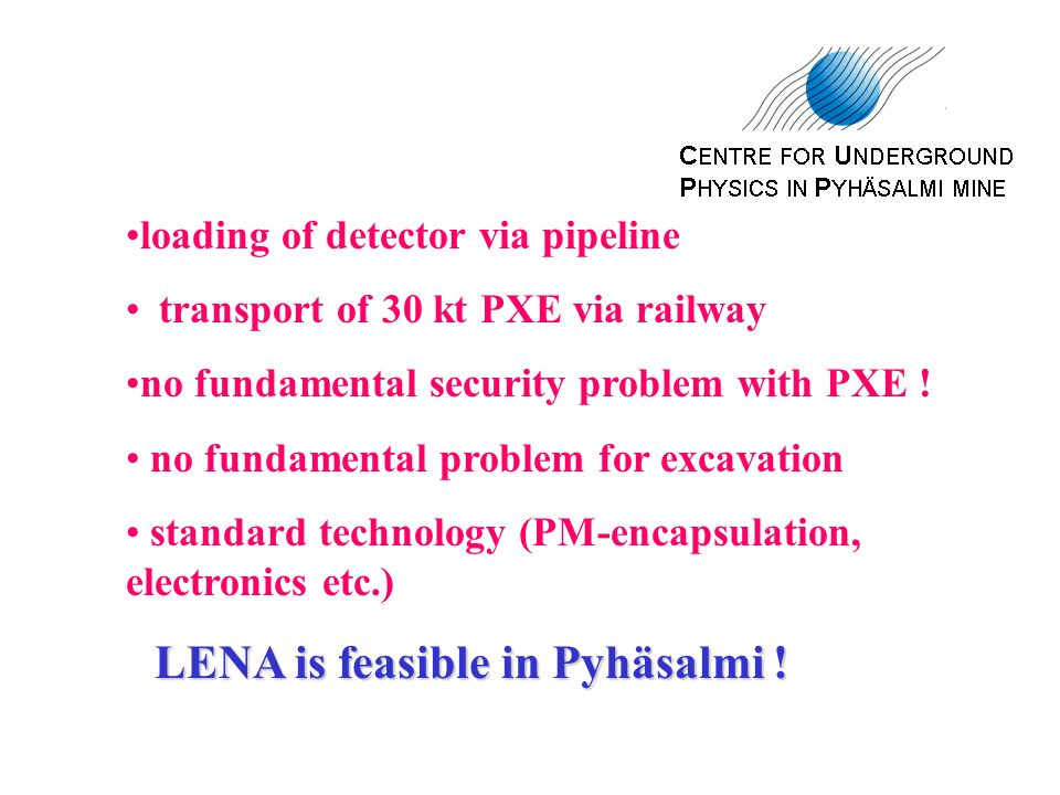 loading of detector via pipeline transport of 30 kt PXE via railway no fundamental security problem with PXE .