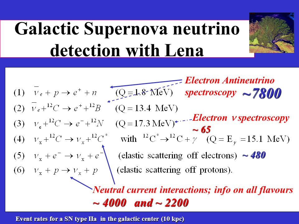 Galactic Supernova neutrino detection with Lena Electron Antineutrino spectroscopy ~ 65 Electron spectroscopy ~ 65 ~ 4000 and ~ 2200 Neutral current interactions; info on all flavours ~ 4000 and ~ 2200 ~7800 ~ 480 Event rates for a SN type IIa in the galactic center (10 kpc)