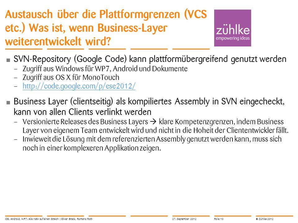 © Zühlke 2012 Austausch über die Plattformgrenzen (VCS etc.) Was ist, wenn Business-Layer weiterentwickelt wird? SVN-Repository (Google Code) kann pla