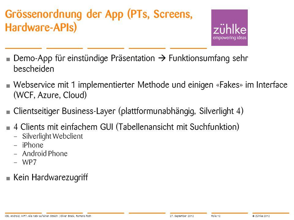 © Zühlke 2012 Grössenordnung der App (PTs, Screens, Hardware-APIs) Demo-App für einstündige Präsentation Funktionsumfang sehr bescheiden Webservice mi