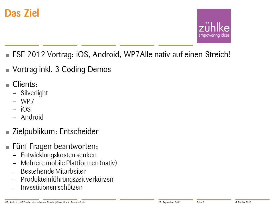 © Zühlke 2012 Das Ziel ESE 2012 Vortrag: iOS, Android, WP7Alle nativ auf einen Streich! Vortrag inkl. 3 Coding Demos Clients: – Silverlight – WP7 – iO