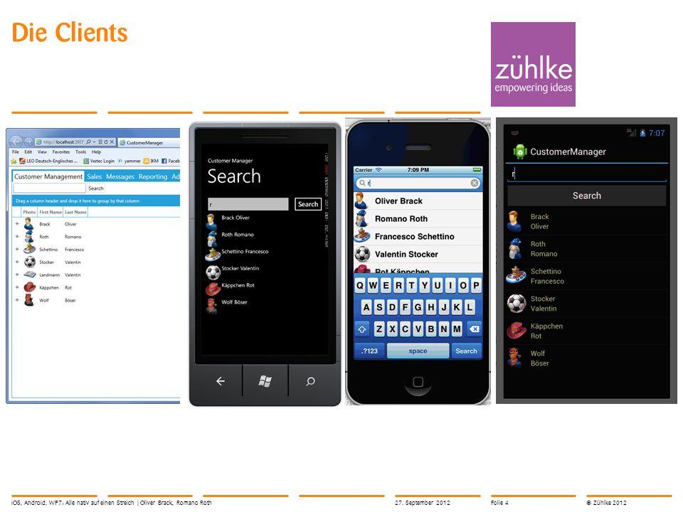 © Zühlke 2012 Die Clients 27. September 2012iOS, Android, WP7: Alle nativ auf einen Streich | Oliver Brack, Romano RothFolie 4