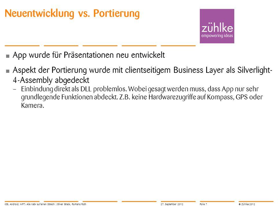 © Zühlke 2012 Neuentwicklung vs. Portierung App wurde für Präsentationen neu entwickelt Aspekt der Portierung wurde mit clientseitigem Business Layer