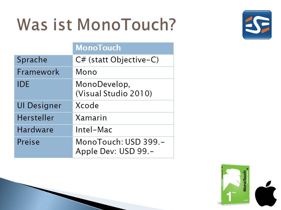 MonoTouch SpracheC# (statt Objective-C) FrameworkMono IDEMonoDevelop, (Visual Studio 2010) UI DesignerXcode HerstellerXamarin HardwareIntel-Mac PreiseMonoTouch: USD 399.- Apple Dev: USD 99.-