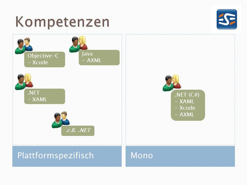 PlattformspezifischMono Objective-C - Xcode z.B..NET.NET (C#) - XAML - Xcode - AXML.NET - XAML Java - AXML