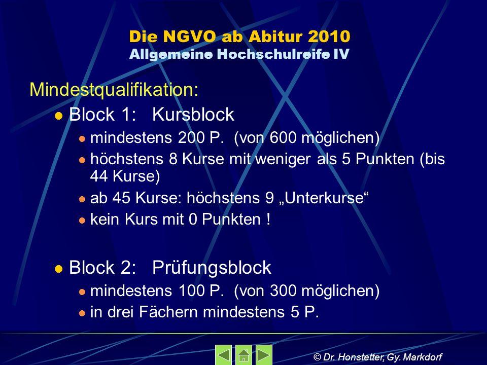 Die NGVO ab Abitur 2010 Allgemeine Hochschulreife IV Mindestqualifikation: Block 1: Kursblock mindestens 200 P. (von 600 möglichen) höchstens 8 Kurse