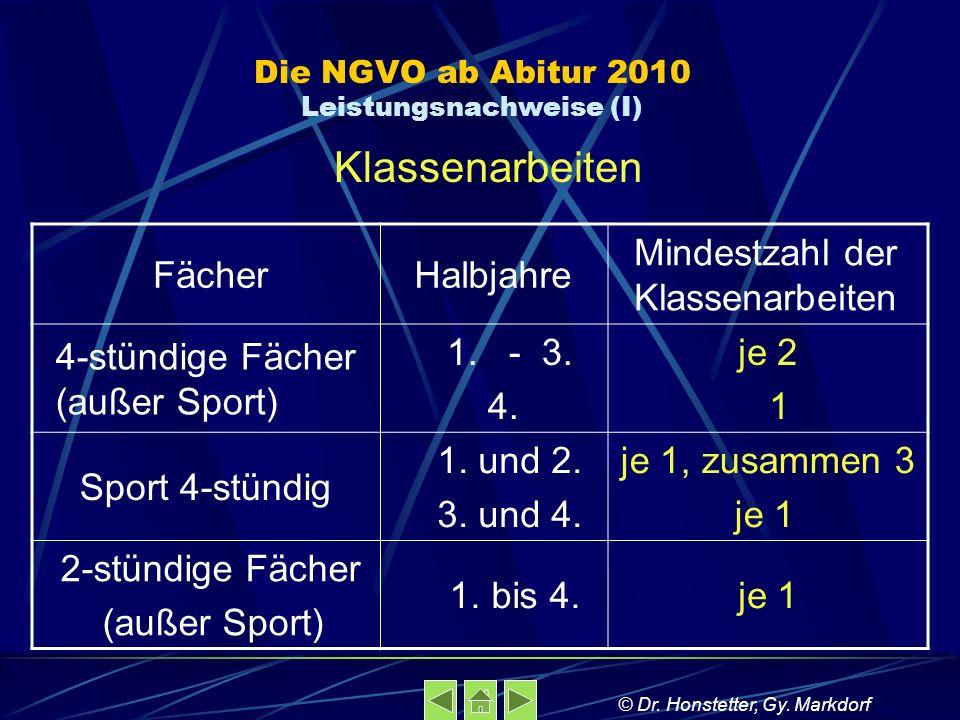 Die NGVO ab Abitur 2010 Leistungsnachweise (I) Klassenarbeiten © Dr. Honstetter, Gy. Markdorf FächerHalbjahre Mindestzahl der Klassenarbeiten 4-stündi