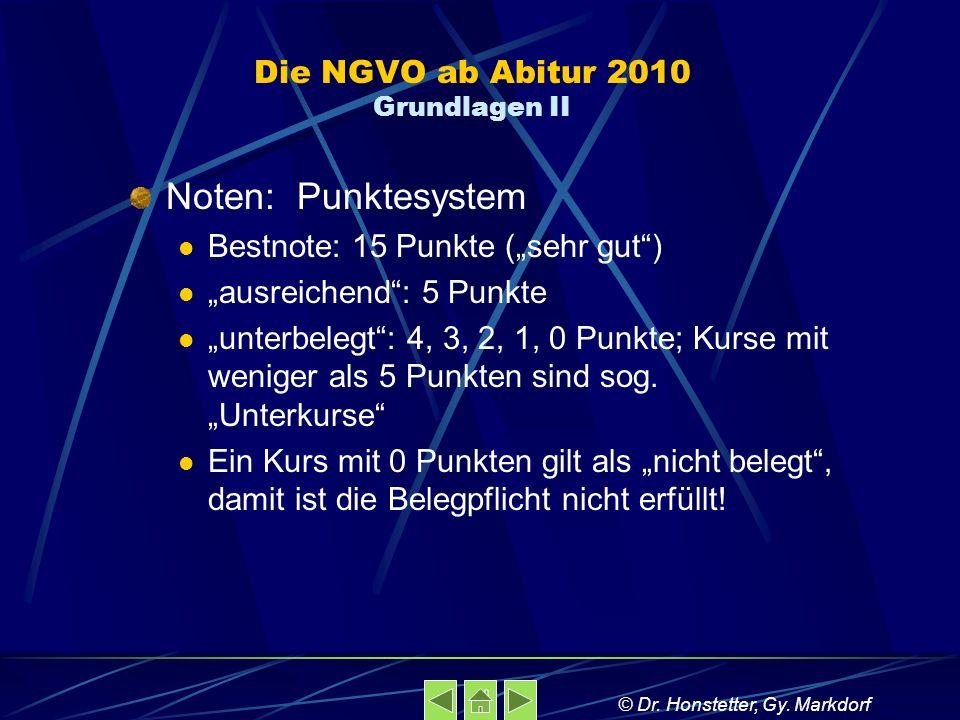 Die NGVO ab Abitur 2010 Grundlagen II Noten: Punktesystem Bestnote: 15 Punkte (sehr gut) ausreichend: 5 Punkte unterbelegt: 4, 3, 2, 1, 0 Punkte; Kurs