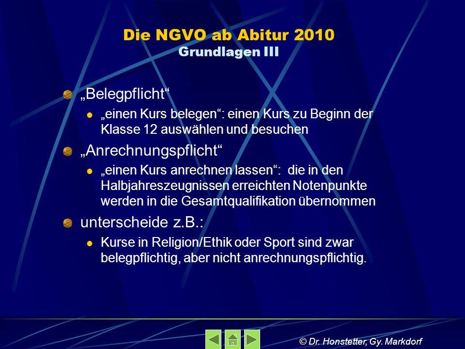 Die NGVO ab Abitur 2010 Grundlagen III Belegpflicht einen Kurs belegen: einen Kurs zu Beginn der Klasse 12 auswählen und besuchen Anrechnungspflicht e