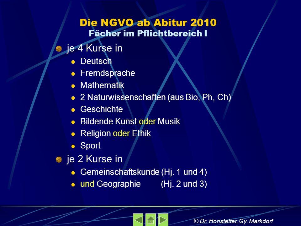 Die NGVO ab Abitur 2010 Fächer im Pflichtbereich I je 4 Kurse in Deutsch Fremdsprache Mathematik 2 Naturwissenschaften (aus Bio, Ph, Ch) Geschichte Bi