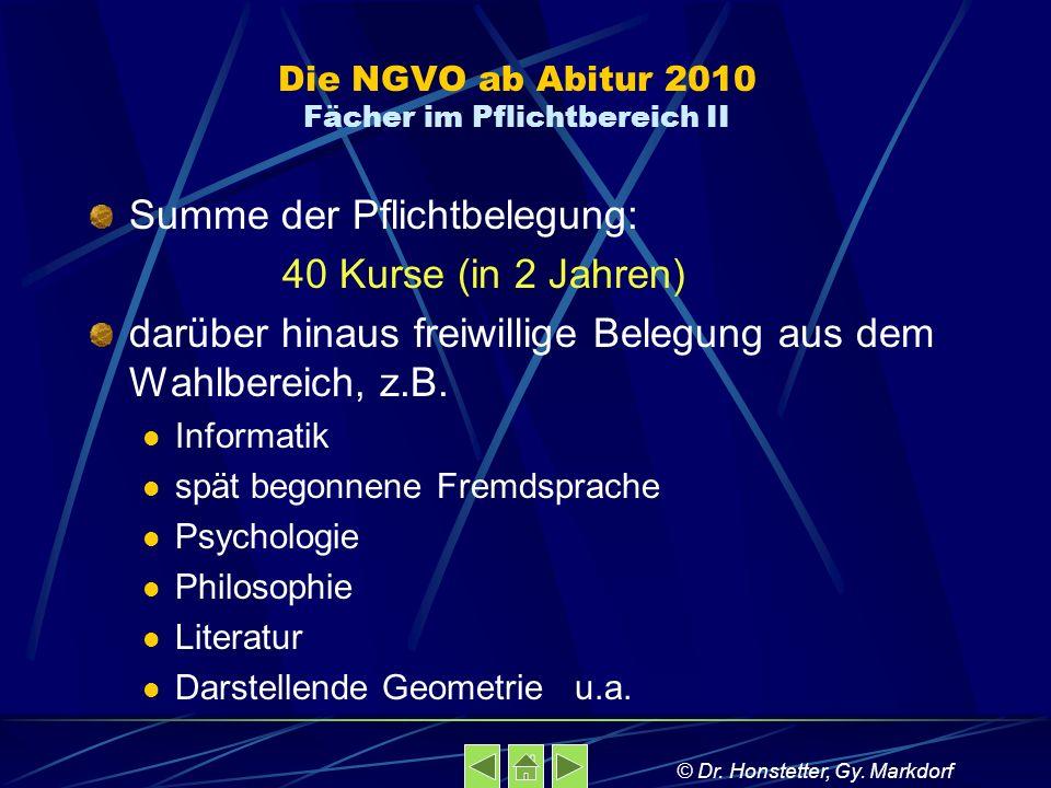 Die NGVO ab Abitur 2010 Fächer im Pflichtbereich II Summe der Pflichtbelegung: 40 Kurse (in 2 Jahren) darüber hinaus freiwillige Belegung aus dem Wahl