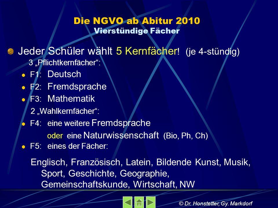 Die NGVO ab Abitur 2010 Vierstündige Fächer Jeder Schüler wählt 5 Kernfächer ! (je 4-stündig) 3 Pflichtkernfächer: F1: Deutsch F2: Fremdsprache F3: Ma