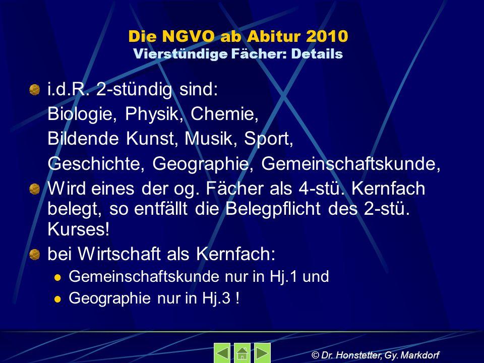 Die NGVO ab Abitur 2010 Vierstündige Fächer: Details i.d.R. 2-stündig sind: Biologie, Physik, Chemie, Bildende Kunst, Musik, Sport, Geschichte, Geogra