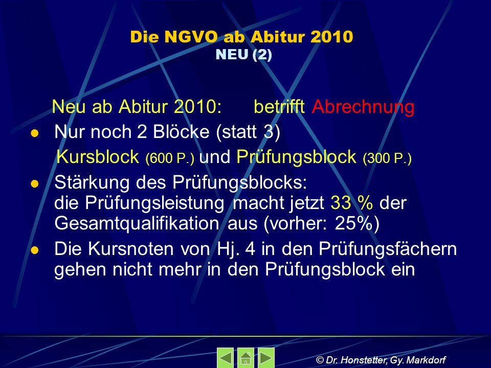 Die NGVO ab Abitur 2010 NEU (2) Neu ab Abitur 2010: betrifft Abrechnung Nur noch 2 Blöcke (statt 3) Kursblock (600 P.) und Prüfungsblock (300 P.) Stärkung des Prüfungsblocks: die Prüfungsleistung macht jetzt 33 % der Gesamtqualifikation aus (vorher: 25%) Die Kursnoten von Hj.