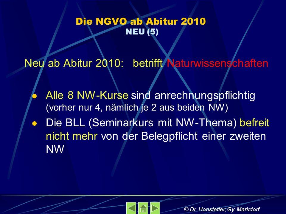 Die NGVO ab Abitur 2010 NEU (5) Neu ab Abitur 2010: betrifft Naturwissenschaften Alle 8 NW-Kurse sind anrechnungspflichtig (vorher nur 4, nämlich je 2