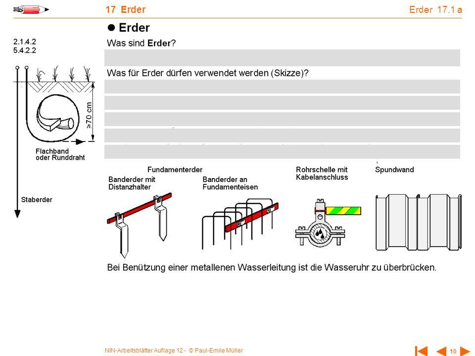 NIN-Arbeitsblätter Auflage 12 - © Paul-Emile Müller 10 17 Erder Erder 17.1 a