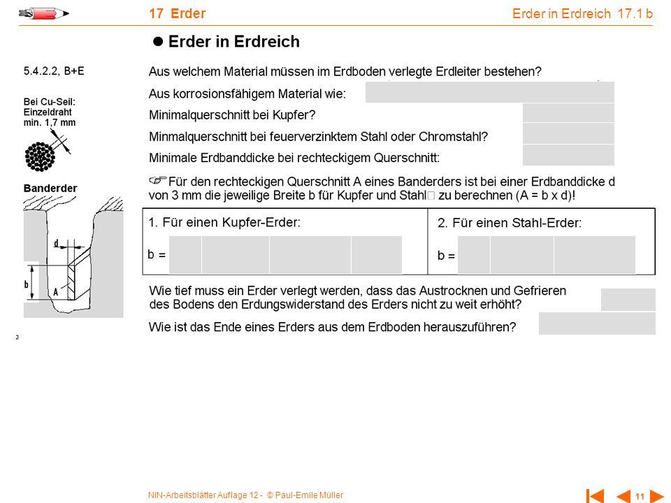 NIN-Arbeitsblätter Auflage 12 - © Paul-Emile Müller 11 17 Erder Erder in Erdreich 17.1 b