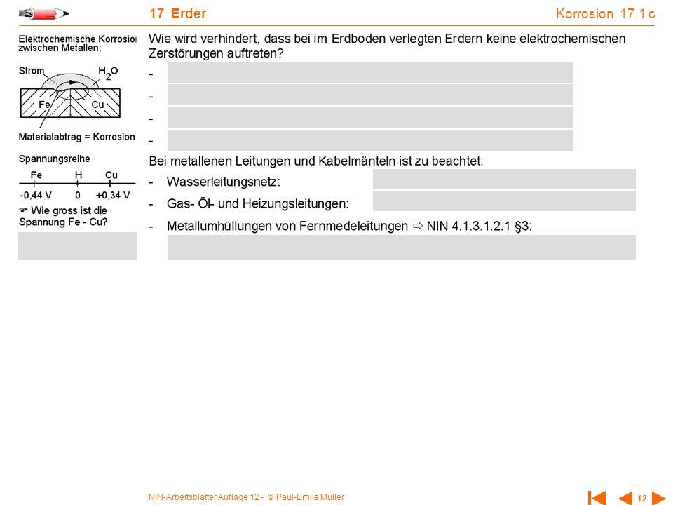 NIN-Arbeitsblätter Auflage 12 - © Paul-Emile Müller 12 17 Erder Korrosion 17.1 c