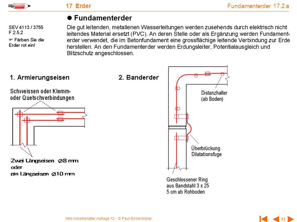 NIN-Arbeitsblätter Auflage 12 - © Paul-Emile Müller 13 17 Erder Fundamenterder 17.2 a