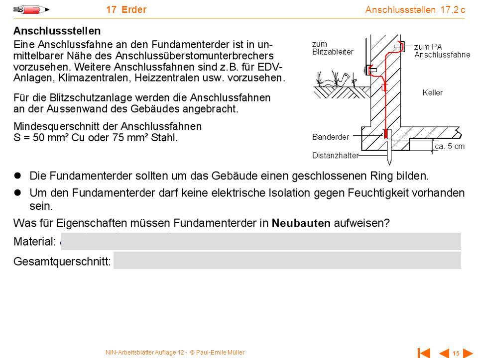 NIN-Arbeitsblätter Auflage 12 - © Paul-Emile Müller 15 17 Erder Anschlussstellen 17.2 c