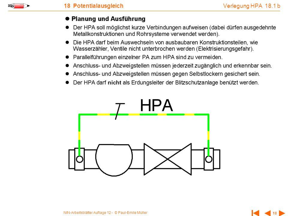 NIN-Arbeitsblätter Auflage 12 - © Paul-Emile Müller 18 18 Potentialausgleich Verlegung HPA 18.1 b