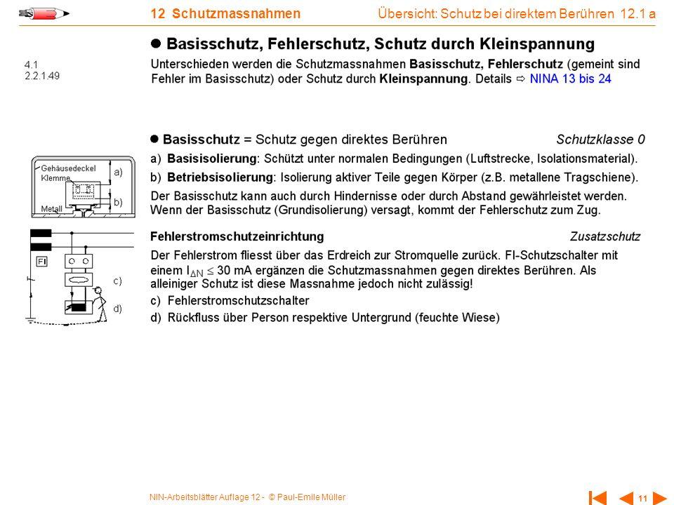 NIN-Arbeitsblätter Auflage 12 - © Paul-Emile Müller 11 12 Schutzmassnahmen Übersicht: Schutz bei direktem Berühren 12.1 a