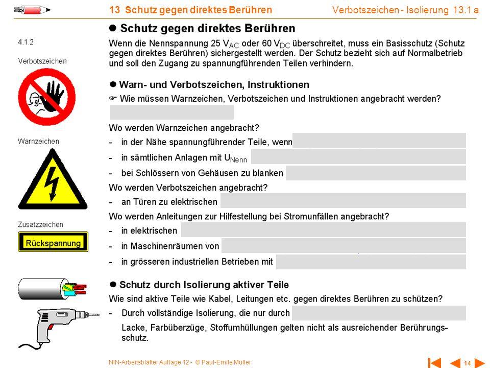 NIN-Arbeitsblätter Auflage 12 - © Paul-Emile Müller 14 13 Schutz gegen direktes Berühren Verbotszeichen - Isolierung 13.1 a