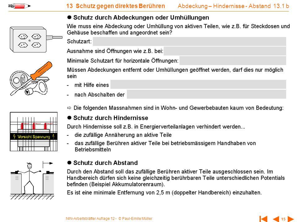 NIN-Arbeitsblätter Auflage 12 - © Paul-Emile Müller 15 13 Schutz gegen direktes Berühren Abdeckung – Hindernisse - Abstand 13.1 b