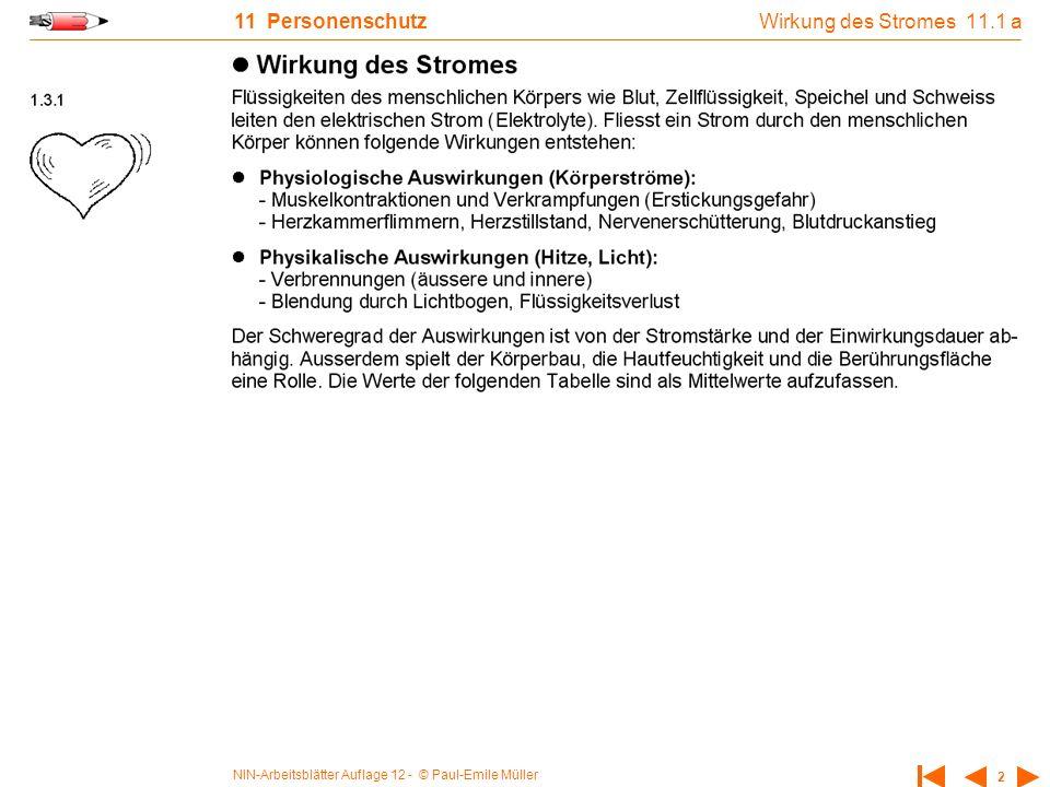 NIN-Arbeitsblätter Auflage 12 - © Paul-Emile Müller 2 11 Personenschutz Wirkung des Stromes 11.1 a