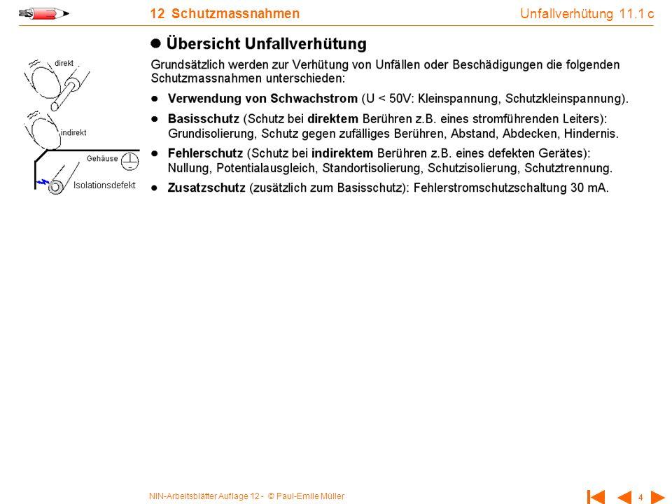 NIN-Arbeitsblätter Auflage 12 - © Paul-Emile Müller 4 12 Schutzmassnahmen Unfallverhütung 11.1 c