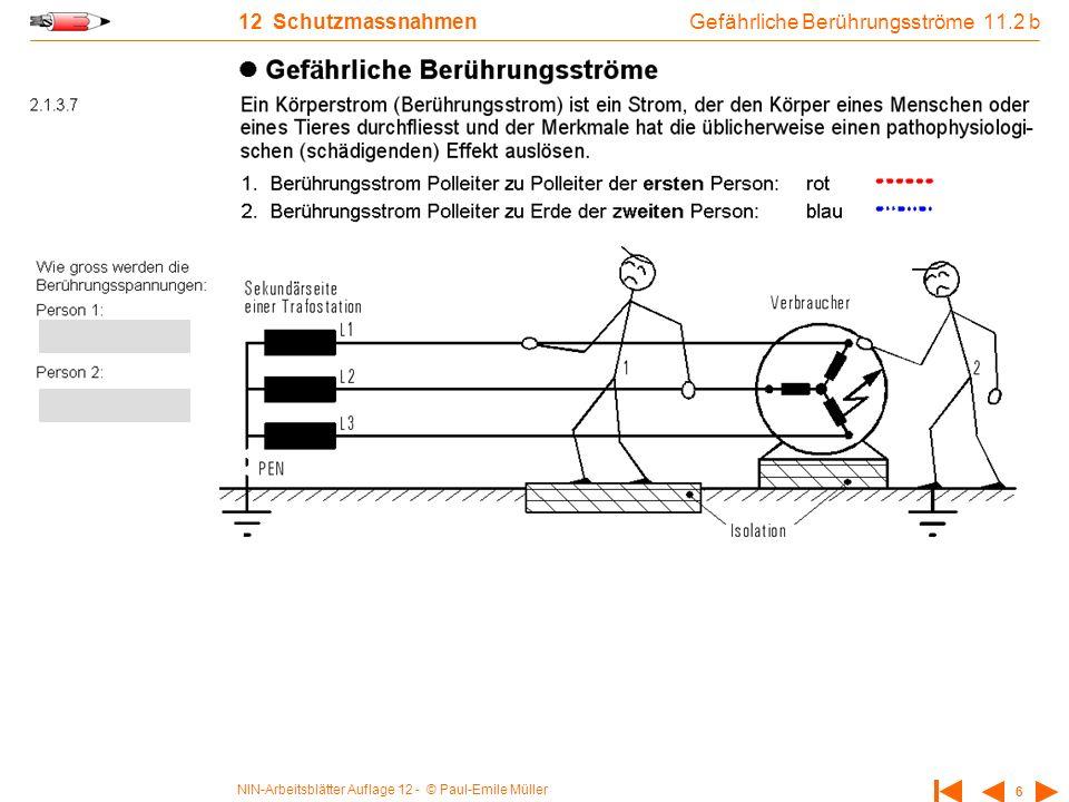 NIN-Arbeitsblätter Auflage 12 - © Paul-Emile Müller 6 12 Schutzmassnahmen Gefährliche Berührungsströme 11.2 b