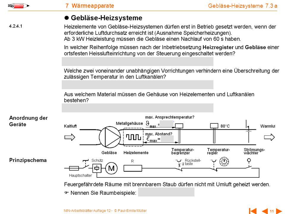 NIN-Arbeitsblätter Auflage 12 - © Paul-Emile Müller 11 7 Wärmeapparate Gebläse-Heizsysteme 7.3 a