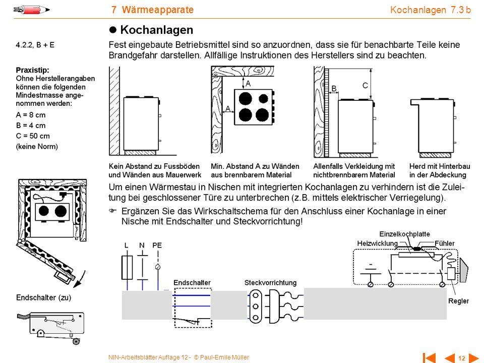 NIN-Arbeitsblätter Auflage 12 - © Paul-Emile Müller 12 7 Wärmeapparate Kochanlagen 7.3 b