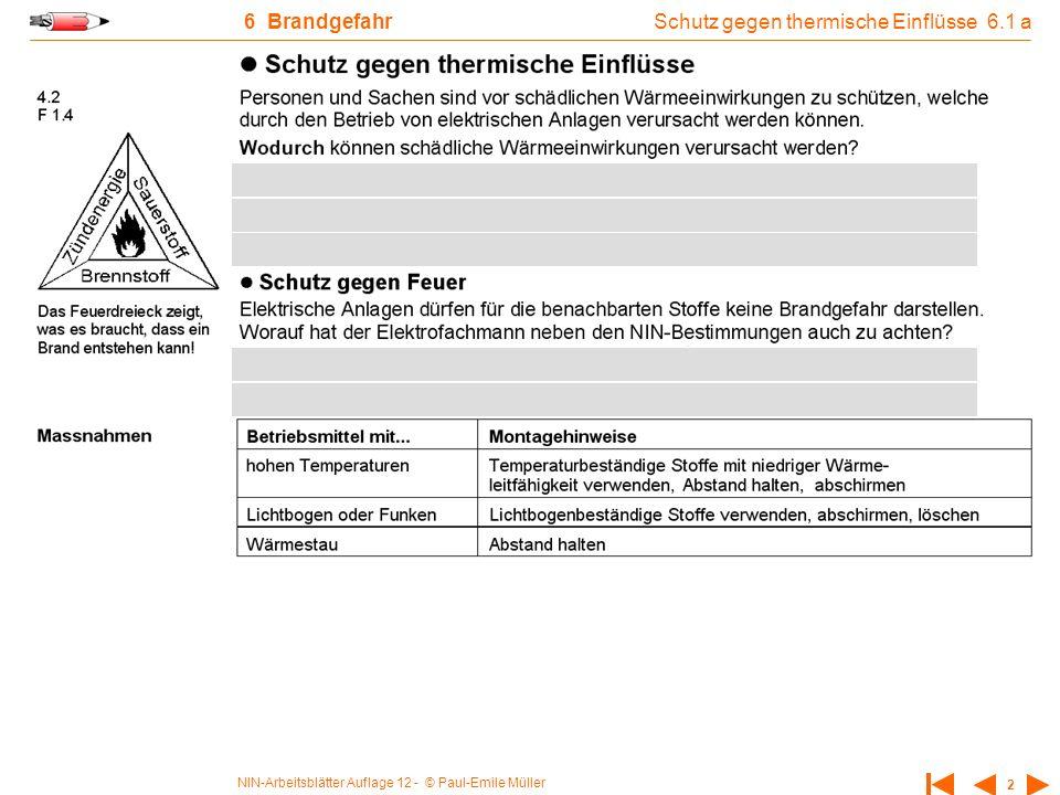 NIN-Arbeitsblätter Auflage 12 - © Paul-Emile Müller 2 6 Brandgefahr Schutz gegen thermische Einflüsse 6.1 a