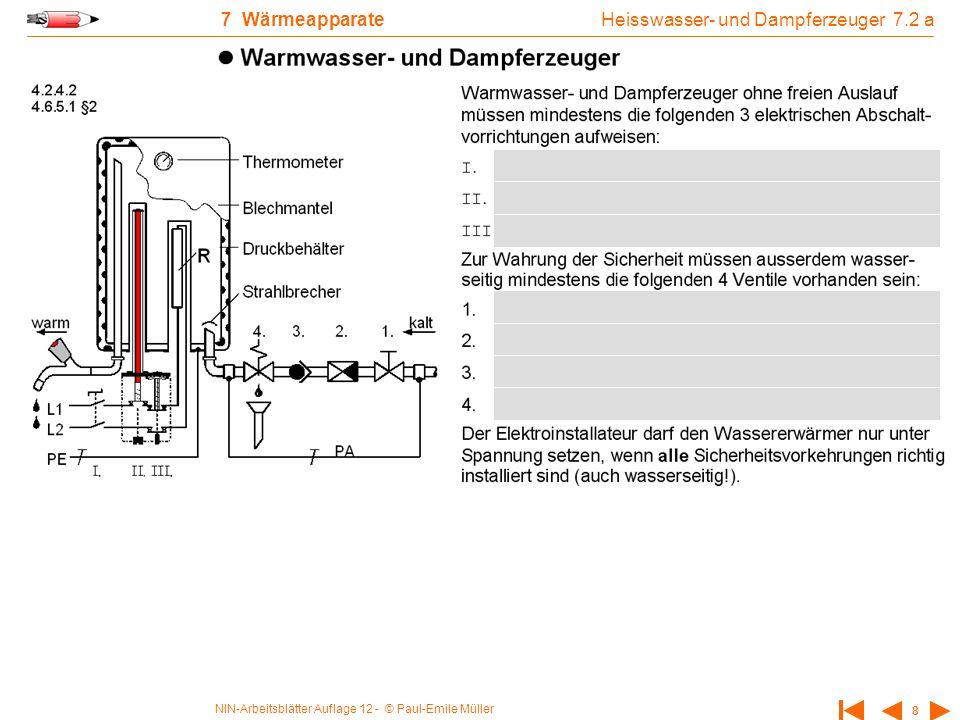 NIN-Arbeitsblätter Auflage 12 - © Paul-Emile Müller 8 7 Wärmeapparate Heisswasser- und Dampferzeuger 7.2 a