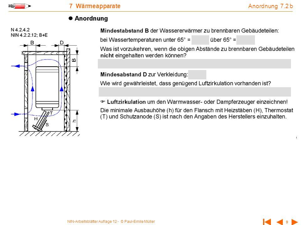 NIN-Arbeitsblätter Auflage 12 - © Paul-Emile Müller 9 7 Wärmeapparate Anordnung 7.2 b