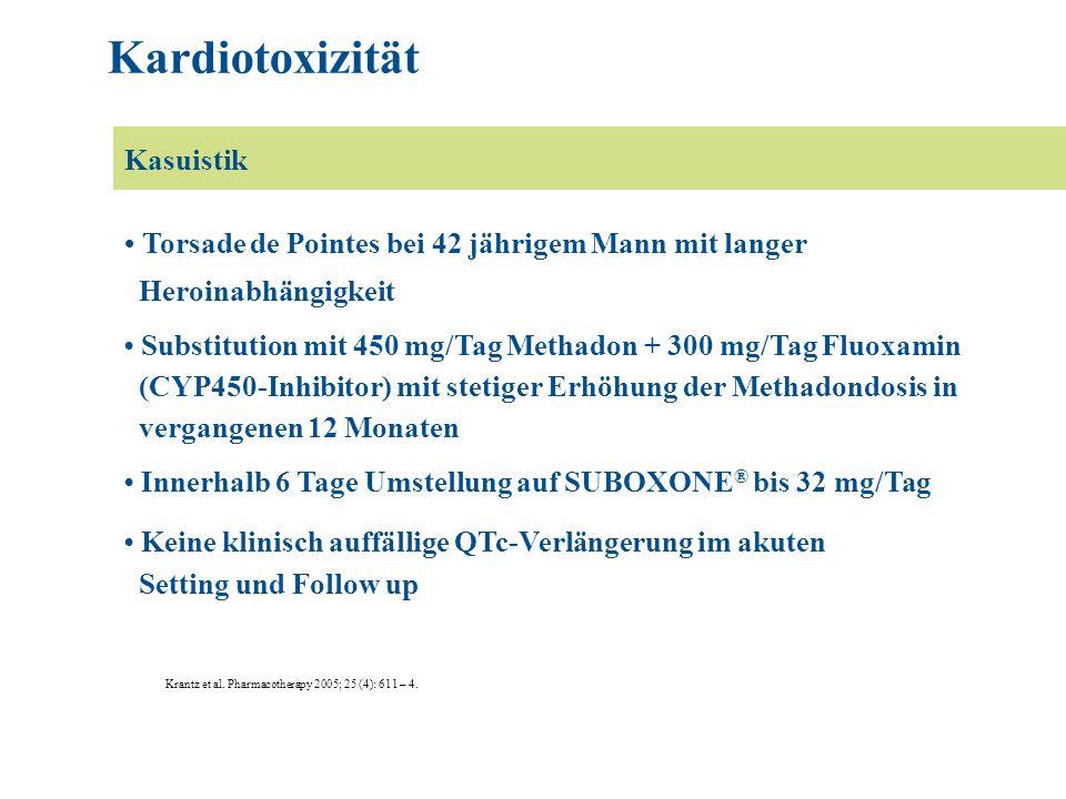 Torsade de Pointes bei 42 jährigem Mann mit langer Heroinabhängigkeit Substitution mit 450 mg/Tag Methadon + 300 mg/Tag Fluoxamin (CYP450-Inhibitor) mit stetiger Erhöhung der Methadondosis in vergangenen 12 Monaten Innerhalb 6 Tage Umstellung auf SUBOXONE ® bis 32 mg/Tag Keine klinisch auffällige QTc-Verlängerung im akuten Setting und Follow up Krantz et al.