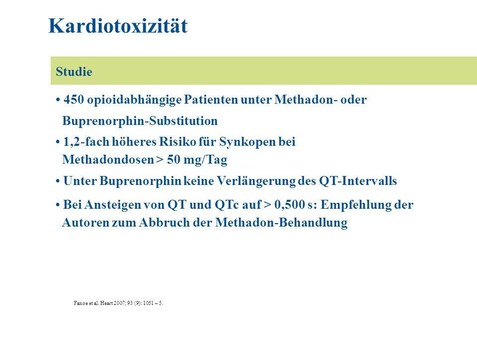 Fanoe et al. Heart 2007; 93 (9): 1051 – 5. 450 opioidabhängige Patienten unter Methadon- oder Buprenorphin-Substitution 1,2-fach höheres Risiko für Sy
