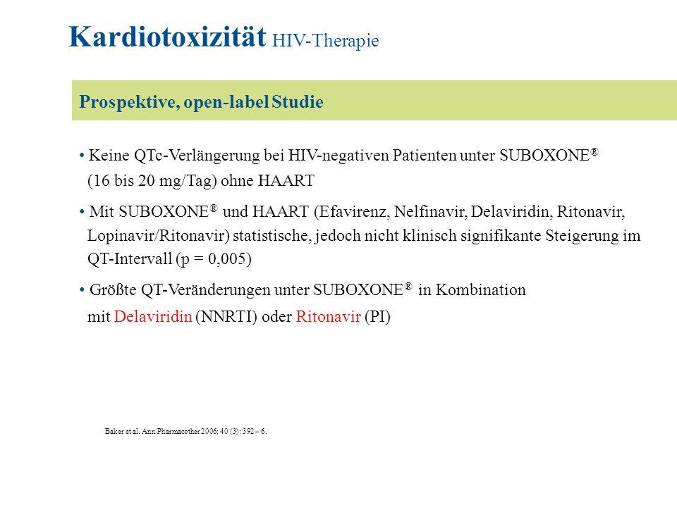 Baker et al. Ann Pharmacother 2006; 40 (3): 392 – 6. Keine QTc-Verlängerung bei HIV-negativen Patienten unter SUBOXONE ® (16 bis 20 mg/Tag) ohne HAART